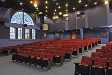 Film House interior with red seats