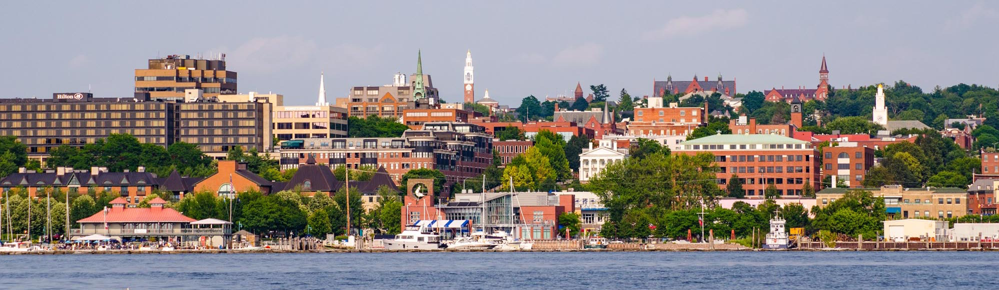 Burlington waterfront from boat on Lake Champlain