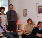 Rob Rossel, Nan Lathrop, Dan Brown, Carol Greenberger, Jean Pieniadz sitting around and smiling